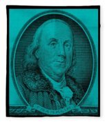 Ben Franklin In Turquois Fleece Blanket