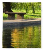 Bench And Reflections In Tower Grove Park Fleece Blanket