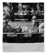Bench Bums In Black And White Fleece Blanket