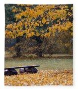 Bench In The Autumn Landscape Fleece Blanket