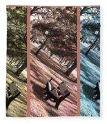 Bench In The Park Triptych  Fleece Blanket