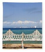 Bench On Malecon In Puerto Vallarta Fleece Blanket