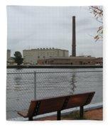 Bench With Industrial View Fleece Blanket