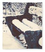 Bench With Snow Fleece Blanket