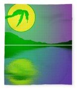 Bent Palm Sunrise Fleece Blanket
