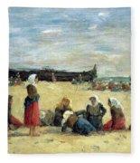 Berck - Fisherwomen On The Beach Fleece Blanket