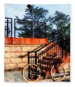 Bicycle By Train Station Fleece Blanket