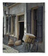 Bicycle On A Street By The Zuider Zee  Fleece Blanket