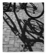 Bicycle Shadows In Black And White Fleece Blanket