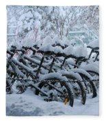 Bicycles In The Snow Fleece Blanket