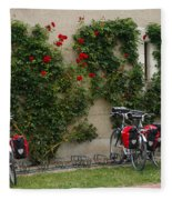 Bicycles Parked By The Wall Fleece Blanket