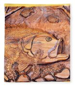 Big Mouth Bass Carving Fleece Blanket