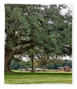 Big Oak And The Tractors Fleece Blanket