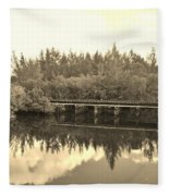 Big Sky And Dock On The River In Sepia Fleece Blanket