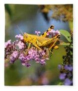 Big Yellow Grasshopper Fleece Blanket