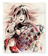 Biker Girl Fleece Blanket
