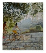 Bikes And Bricks Fleece Blanket