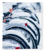 Bikes In Snow Fleece Blanket