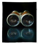 Binoculars With Eyes Looking At You Fleece Blanket