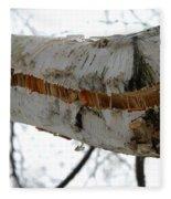Birch Damaged In Ice Storm Fleece Blanket
