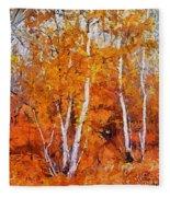 Birch Trees In Autumn Fleece Blanket