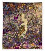 Bird And Butterflies Fleece Blanket