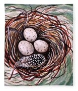 Bird Nest And A Feather Fleece Blanket