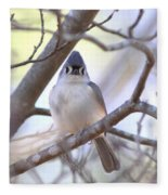 Bird - Tufted Titmouse - Busted Fleece Blanket