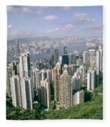 Birds Eye View Over Hong Kong Fleece Blanket