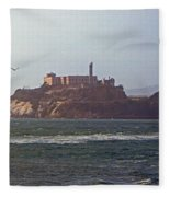 Birds In Free Flight At Alcatraz Fleece Blanket
