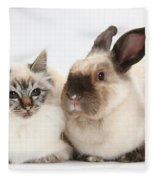 Birman Cat And Colorpoint Rabbit Fleece Blanket