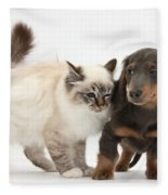 Birman Cat And Dachshund Puppy Fleece Blanket