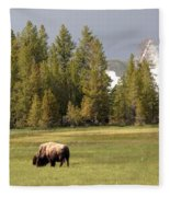 Bison In Yellowstone Fleece Blanket