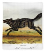 Black American Wolf Fleece Blanket
