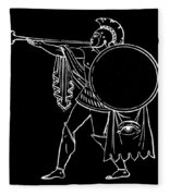 Black And White Ancient Greek Warrior Fleece Blanket