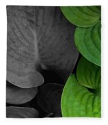 Black And White And Green Leaves Fleece Blanket