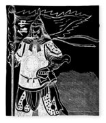 Black And White Chinese Warrior Fleece Blanket