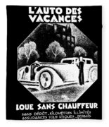 Black And White French Car Fleece Blanket