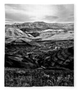 Black And White Painted Hills Fleece Blanket