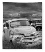 Black And White Photograph Of A Junk Yard With Vintage Auto Bodies Fleece Blanket