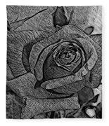 Black And White Rose Sketch Fleece Blanket