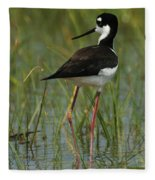 Black And White Stilt Fleece Blanket