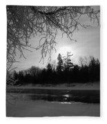 Black And White Sunrise Fleece Blanket
