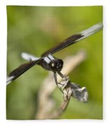 Black And White Widow Skimmer Dragonfly Fleece Blanket