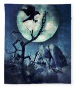 Black Bird Landing On A Branch In The Moonlight Fleece Blanket