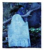 Black Bird Perched On Old Tombstone Fleece Blanket