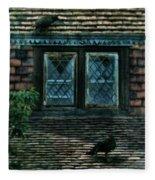 Black Birds Sitting On Roof By Window Fleece Blanket