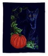 Black Cat Cross Stitch Fleece Blanket