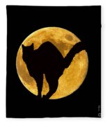 Black Cat Moon Fleece Blanket