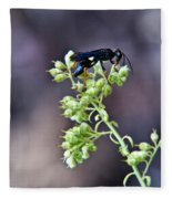 Black Flower Feeding Wasp Fleece Blanket